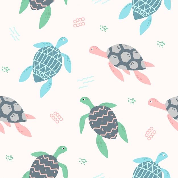 Teste padrão sem emenda animal bonito da tartaruga de mar para o papel de parede Vetor Premium