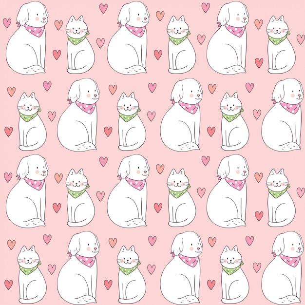 Teste padrão sem emenda bonito do gato e do cão do dia dos valentim dos desenhos animados. Vetor Premium