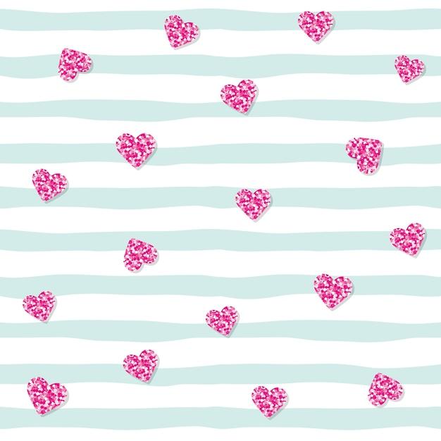Teste padrão sem emenda com corações cor-de-rosa dos confetes do brilho em fundo listrado. Vetor Premium