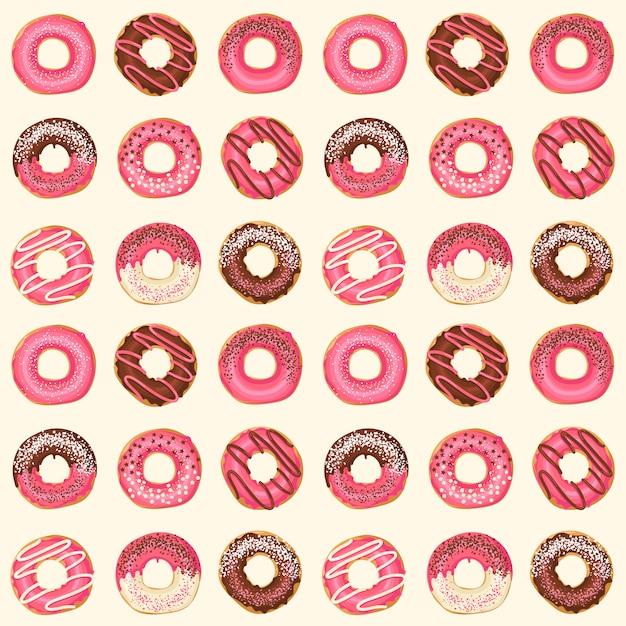 Teste padrão sem emenda com os anéis de espuma vitrificados cor-de-rosa do vetor com chocolate e pó. projeto de alimentos. Vetor Premium