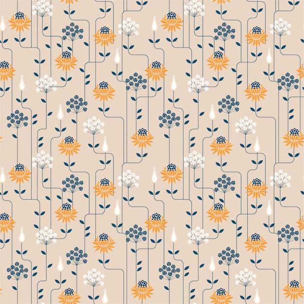Teste padrão sem emenda da flor do vintage com linha. design de ornamento para tecido de moda, papel de parede e todas as impressões Vetor Premium