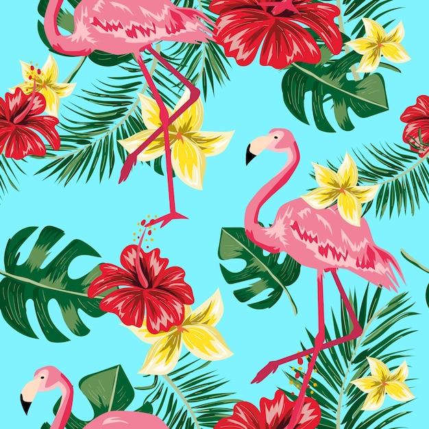 Teste padrão sem emenda da flor e do flamingo tropicais da folha. Vetor Premium