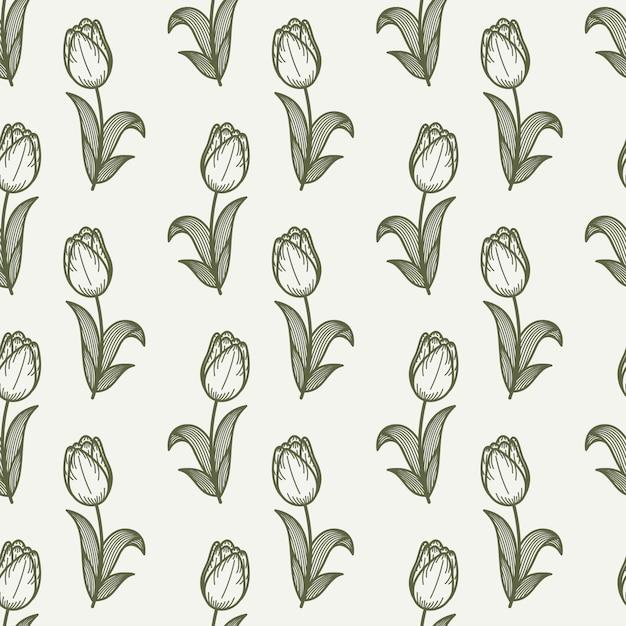 Teste padrão sem emenda da tulipa em um estilo do desenho da mão. Vetor Premium