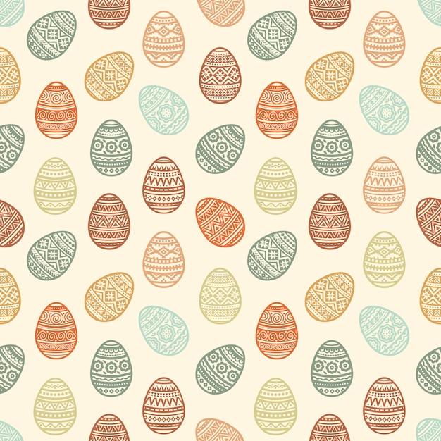 Teste padrão sem emenda de ícones lisos do ovo da páscoa colorido pintados no estilo tradicional. Vetor Premium