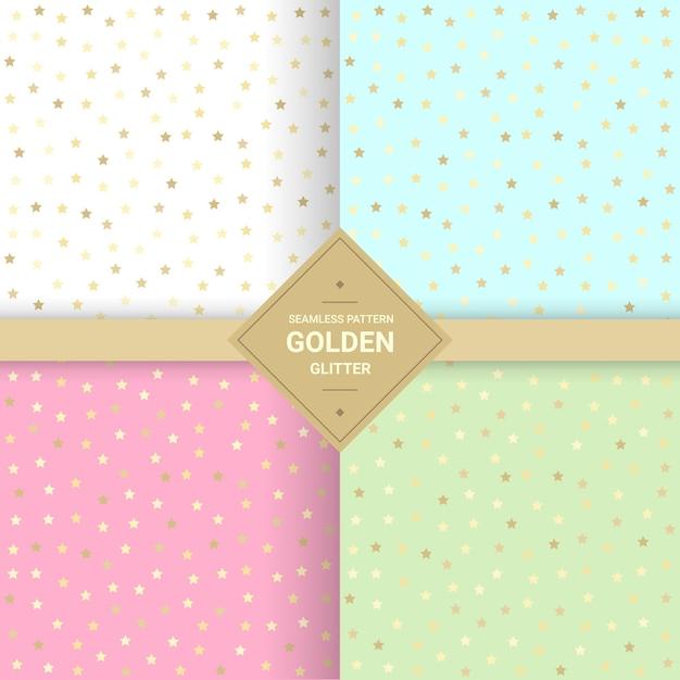 Teste padrão sem emenda do brilho dourado da estrela no fundo pastel. Vetor Premium