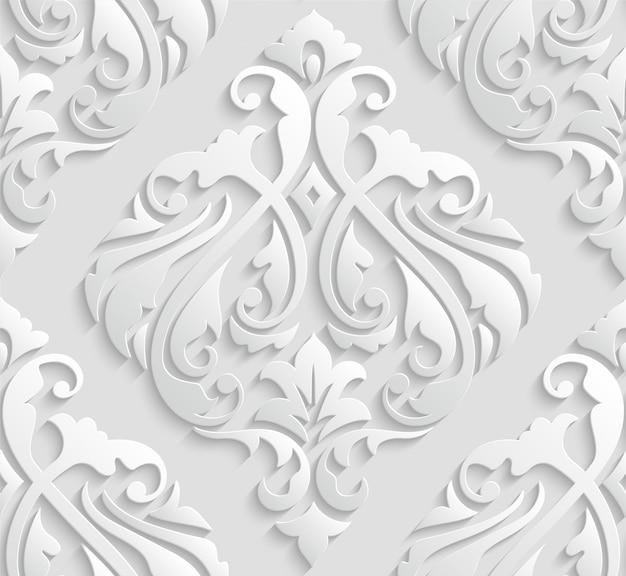 Teste padrão sem emenda do damasco 3d branco elegante Vetor Premium
