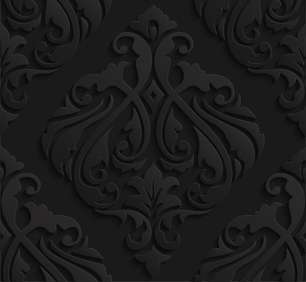 Teste padrão sem emenda do damasco 3d preto elegante Vetor Premium