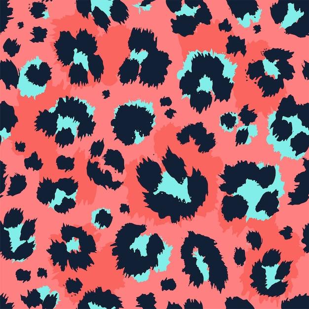 Teste padrão sem emenda do desenho engraçado do projeto do teste padrão do leopardo. Vetor Premium
