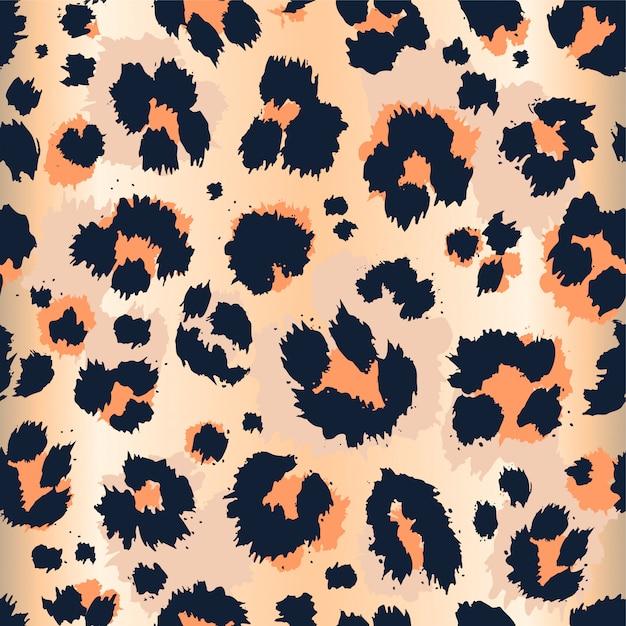Teste padrão sem emenda do desenho engraçado do teste padrão do leopardo. Vetor Premium