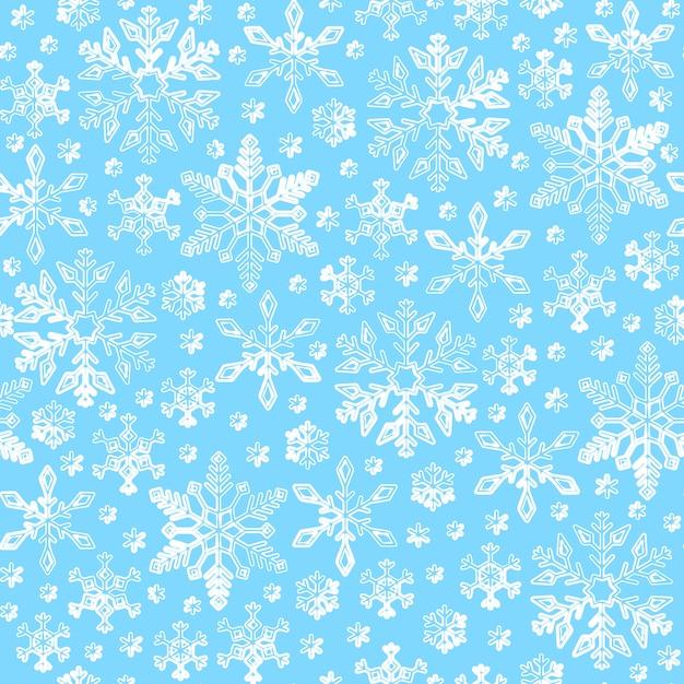 Teste padrão sem emenda do floco de neve, linha fundo da neve do inverno, envoltório de papel ,. Vetor Premium