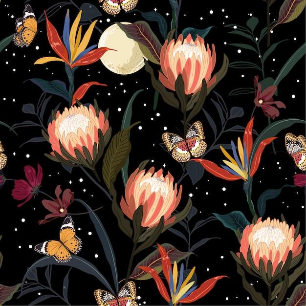 Teste padrão sem emenda do jardim de flores de protea Vetor Premium