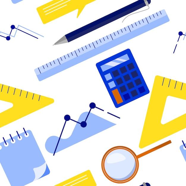 Teste padrão sem emenda do negócio liso leigo com bloco de notas, calculadora, régua, vidro da lente de aumento, pena de esferográfica, carta, gráfico. ilustração vetorial plana Vetor Premium