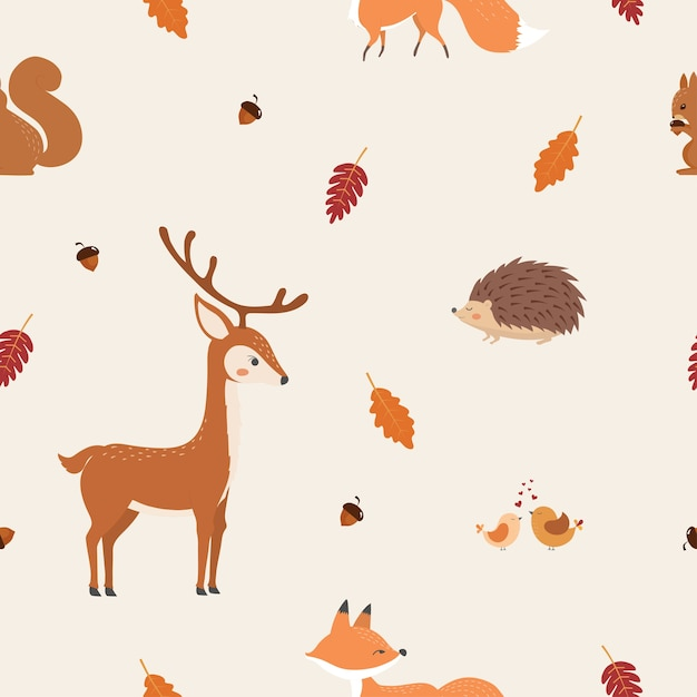 Teste padrão sem emenda do outono com animais fofos. Vetor Premium