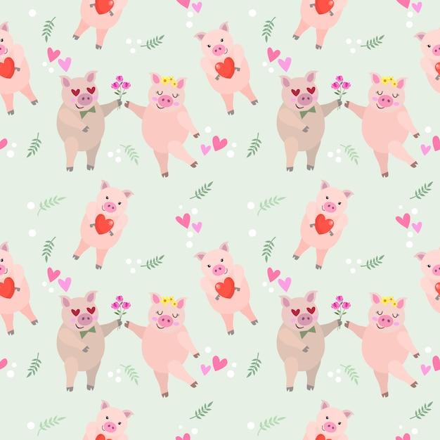 Teste padrão sem emenda do porco bonito dos pares dos desenhos animados cor-de-rosa. Vetor Premium