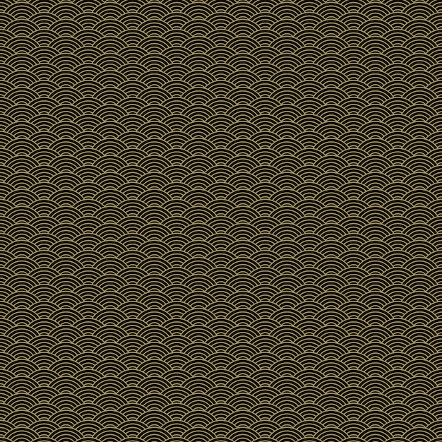 Teste padrão sem emenda do squama dourado e preto asiático clássico para a indústria têxtil, projeto da tela. Vetor grátis