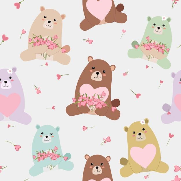 Teste padrão sem emenda do urso de peluche bonito do bebê. Vetor Premium