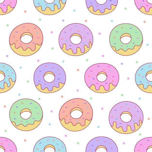 Teste padrão sem emenda dos donuts de kawaii para o café ou o restaurante. Vetor Premium