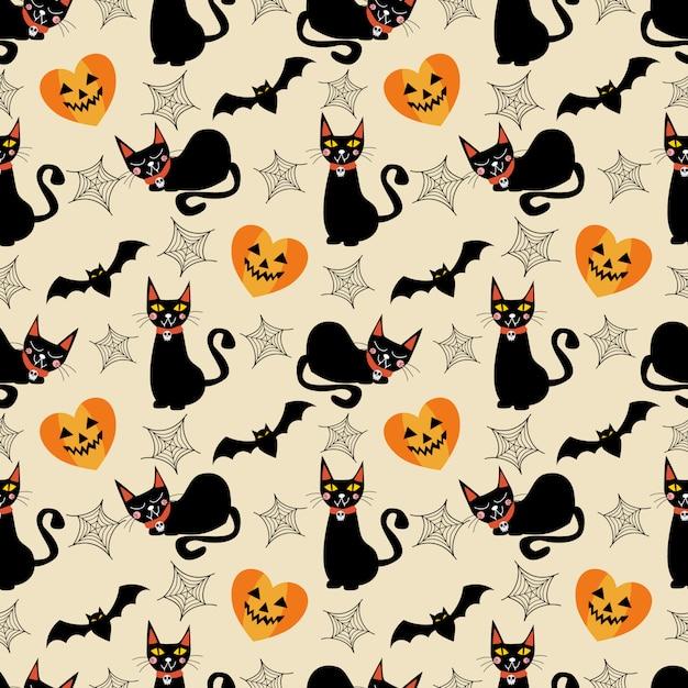 Teste padrão sem emenda dos símbolos do gato preto e do dia das bruxas. Vetor Premium