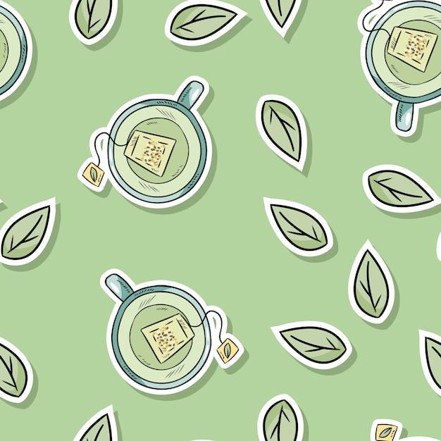 Teste padrão sem emenda dos termas amigáveis de eco com chá verde e folhas. vá viver verde Vetor Premium
