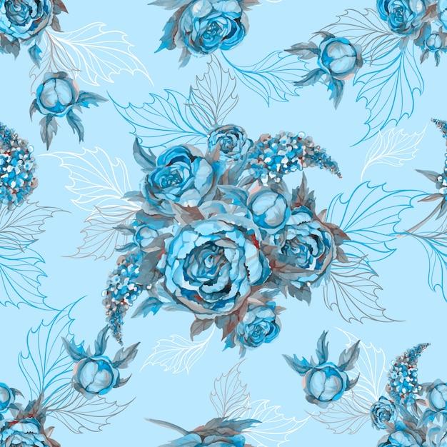 Teste padrão sem emenda floral ramalhete de peônias e de lilás das rosas. Vetor Premium