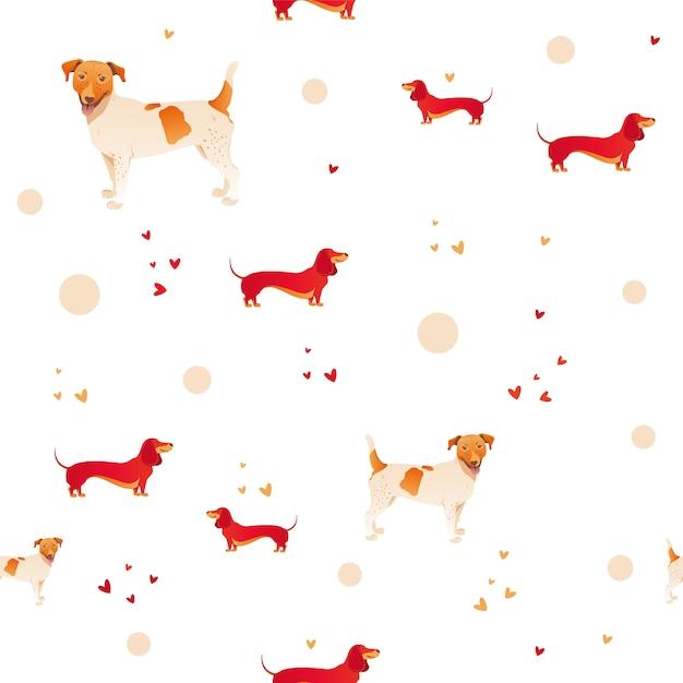 Teste padrão sem emenda moderno simples com cão e grama vermelhos. Vetor Premium
