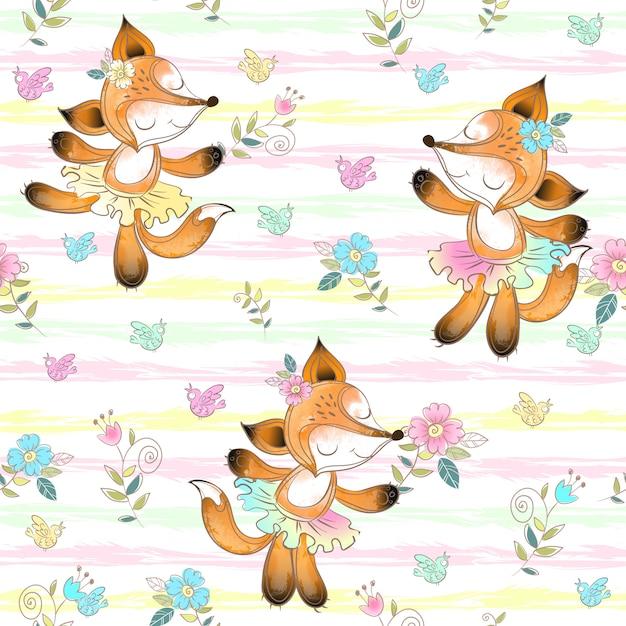 Teste padrão sem emenda para crianças com as bailarinas bonitos das raposas. Vetor Premium