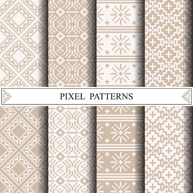 Teste padrão tailandês do pixel para fazer a matéria têxtil da tela ou o fundo do página da web. Vetor Premium