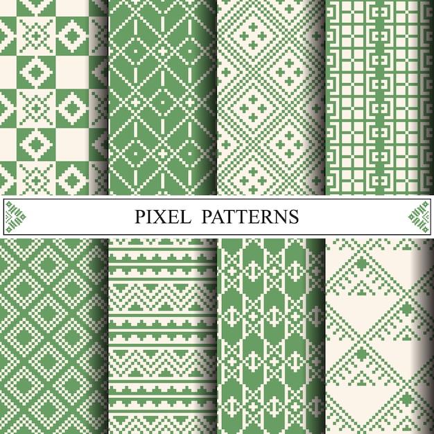 Teste padrão tailandês do pixel para fazer a matéria têxtil da tela Vetor Premium