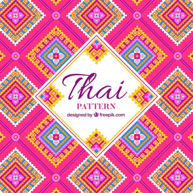 Teste padrão tailandês elegante com design plano Vetor grátis