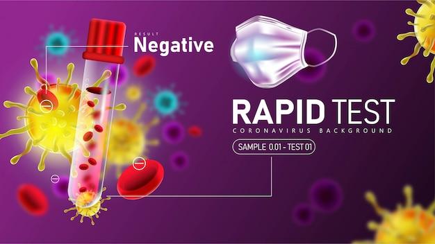 Teste rápido de coronavírus 2019- ncov com resultado negativo Vetor Premium