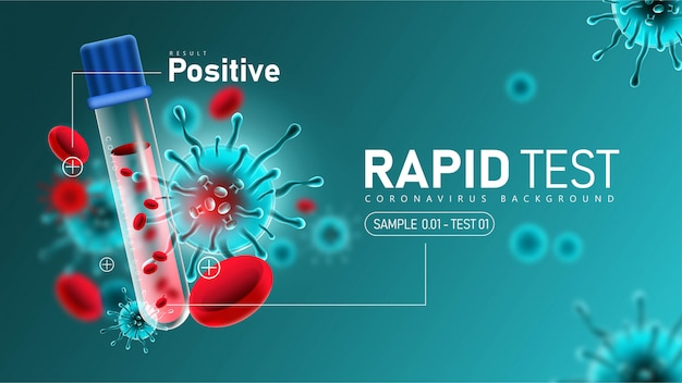 Teste rápido de coronavírus 2019- ncov com resultado positivo Vetor grátis