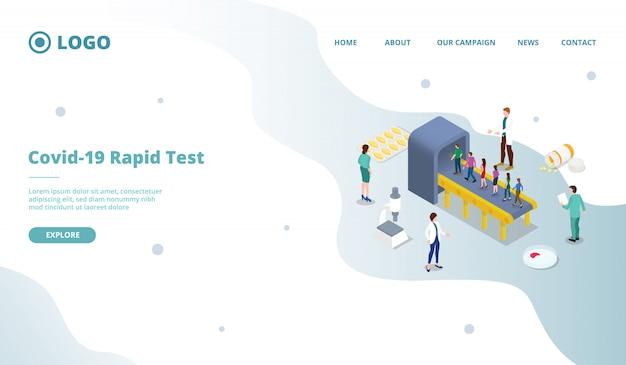 Teste rápido do vírus corona covid-19 ou modelo de página de rastreamento em massa Vetor Premium