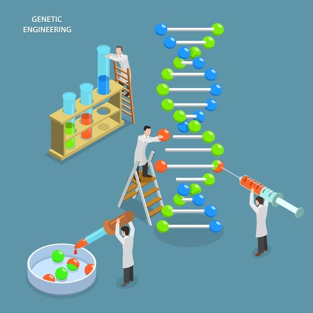 Testes genéticos e engenharia. Vetor Premium