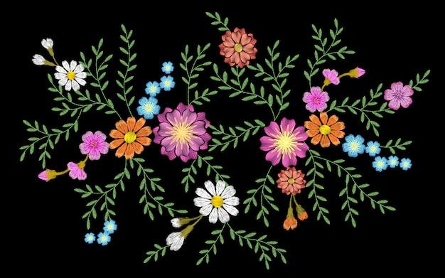 Têxtil da cópia da forma do remendo da etiqueta da erva do gerbera da margarida da flor do bordado Vetor Premium