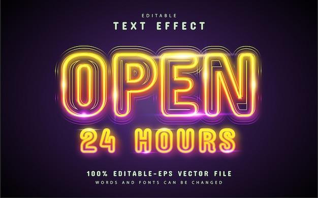 Texto aberto, efeito de texto neon colorido Vetor Premium