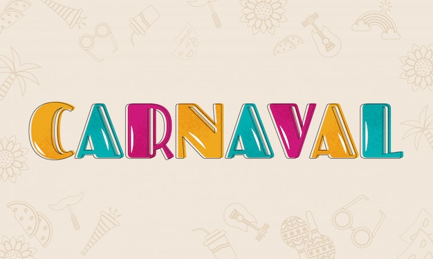 Texto carnaval colorido. Vetor Premium