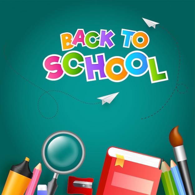Texto colorido de volta à escola com avião de papel e educação supp Vetor Premium