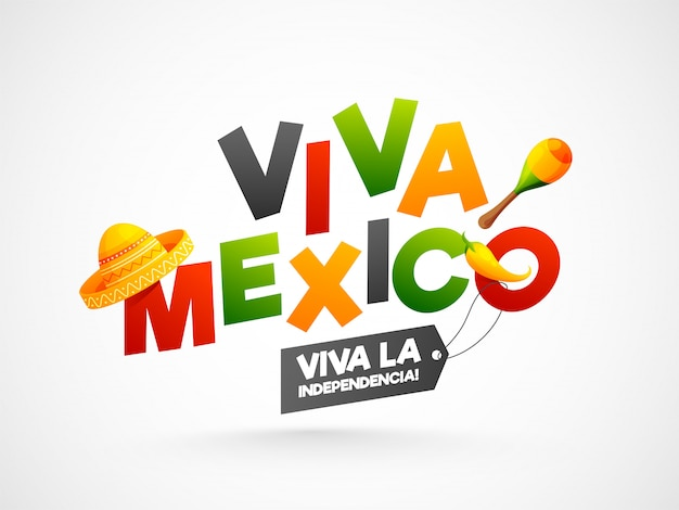 Texto colorido do viva mexico com chapéu sombrero Vetor Premium