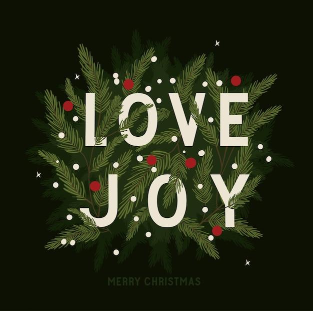 Texto com folhas, feliz natal temporada decoração cartão convite celebração e ilustração de férias Vetor Premium
