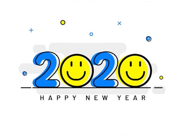 Texto criativo 2020 com smiley emoji em branco Vetor Premium