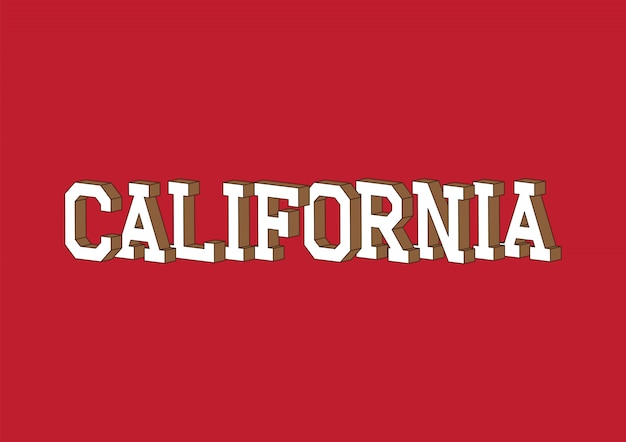Texto da califórnia com efeito isométrico 3d Vetor Premium