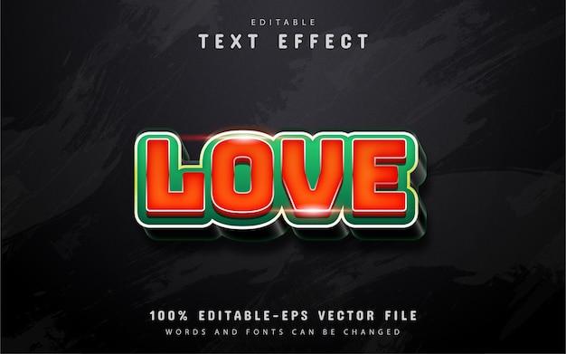 Texto de amor, efeito de texto 3d vermelho Vetor Premium