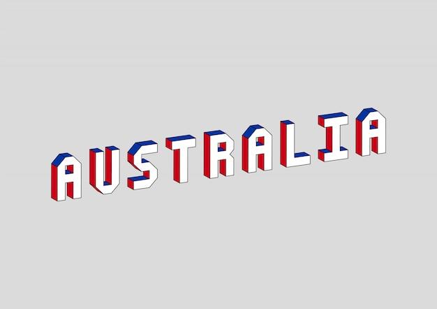 Texto de austrália com efeito isométrico 3d Vetor Premium