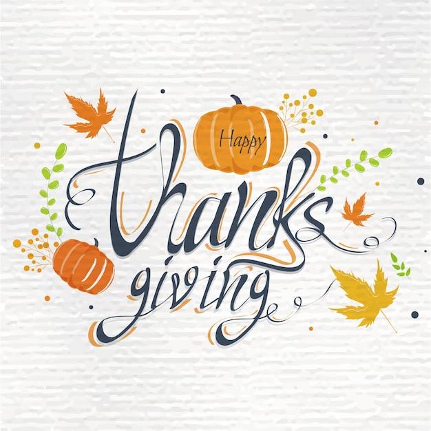 Texto de caligrafia cartão de ação de graças feliz com abóbora e folhas de outono decoradas com textura de papel branco. Vetor Premium