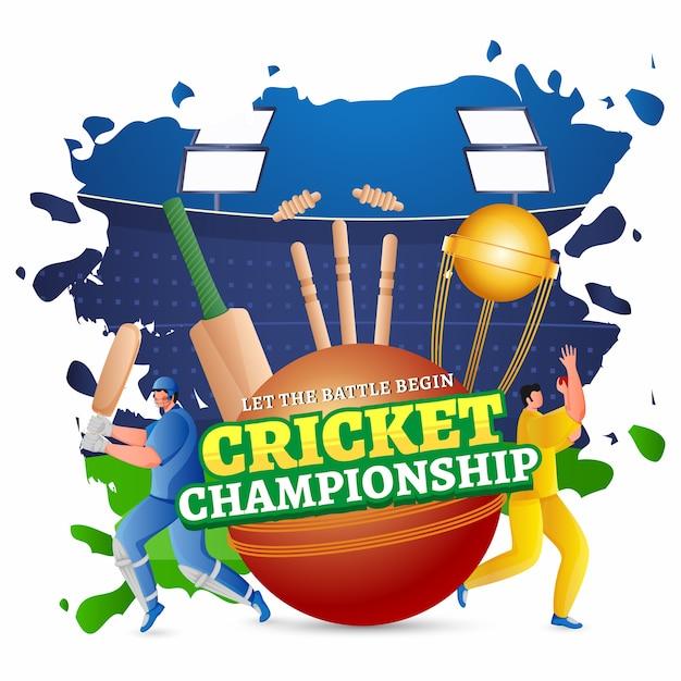 Texto de campeonato de críquete no estilo de etiqueta com o personagem trophy cup, batsman e bowler em jogar pose no fundo abstrato de vista do estádio. Vetor Premium