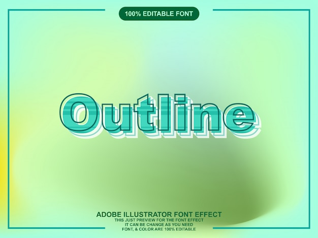 Texto de contorno negrito estilo gráfico editável Vetor Premium