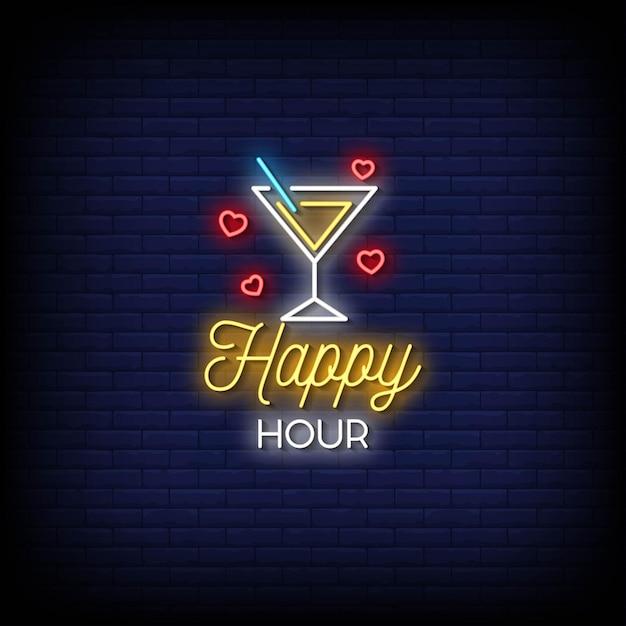Texto de estilo de letreiros de néon para happy hour Vetor Premium