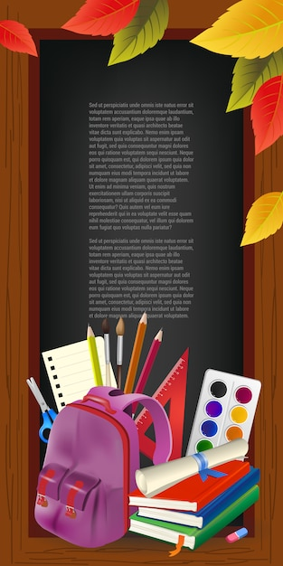 Texto de exemplo em moldura de madeira, folhas e suprimentos Vetor grátis