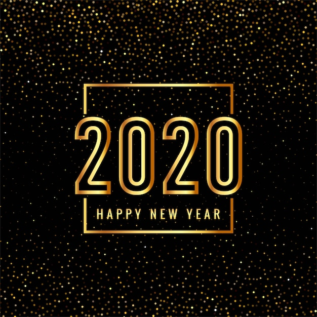 Texto de feliz ano novo de 2020 em ouro para brilhos Vetor grátis