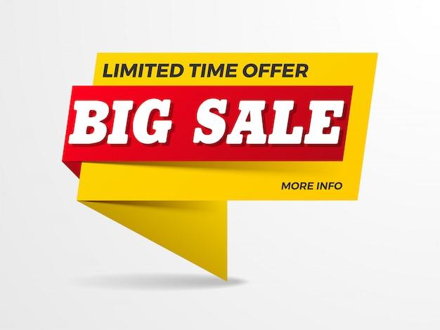 Texto de grande venda no banner da faixa de opções Vetor Premium